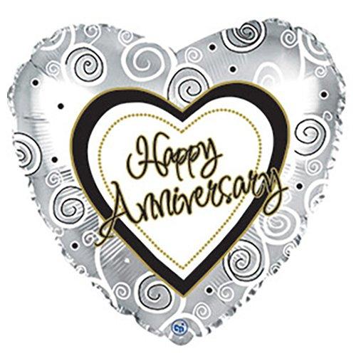 CTI Balloons Foil Balloon 214587 Anniversary Swirls 17 Multicolor