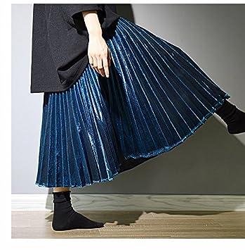 XiaoGao El Nuevo Larga Falda Falda Plisada Metalizada,L,Verde ...