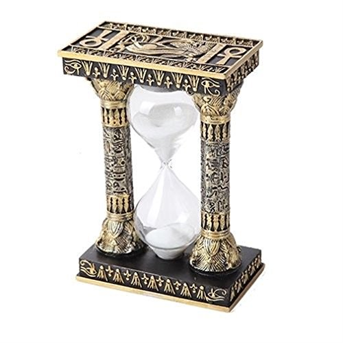 Ky & Co YesKela 5.75 Inches Ancient Egyptian Black and Golden Column Sandtimer Statue Figurine