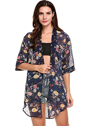 BLUETIME Women's 3/4 Sleeve Floral High Low Chiffon Kimono Cardigan Blouse (XXL, Blue)