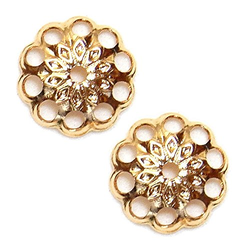 (BEAD CAPs 8mm FANCY ROUND FILIGREE MEDALLION STAR VINTAGE STYLE 50pc FREE SHIPPING (Gold Plated))