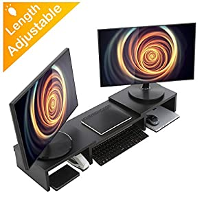 Wood Dual Monitor Stand Riser with Adjustable Length Multi Media Speaker TV PC Laptop Computer Screen Stand Riser Desktop Stand Storage Organizer for iMac,Printer,Notebook,Xbox One,Black