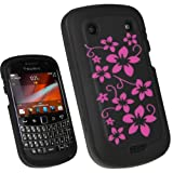 igadgitz Black & Pink Flowers Silicone Skin Case Cover for BlackBerry Bold Touch 9900 9930 Smartphone Mobile Phone + Screen Protector