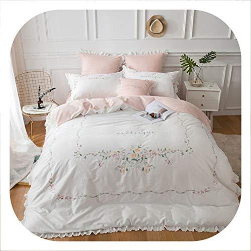 Egyptian Cotton Bedding Sets White Embroidery Bed Linen Duvet Cover Bed Sheet Pillow case Set King Queen Size,11,Queen Size 7pcs 11 Piece Queen Zebra