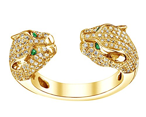 (Wishrocks Round Cut Simulated Emerald & White CZ Double Head Panther Ring in 18K Gold Over Sterling Silver)