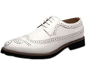 DADAWEN Men's Classic Modern Oxford Wingtip Lace Dress Shoes White US Size 7