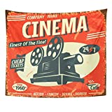 Breezat Tapestry Movie Grunge Retro Cinema Film Vintage Camera Old Home Decor Wall Hanging for Living Room Bedroom Dorm 50x60 Inches