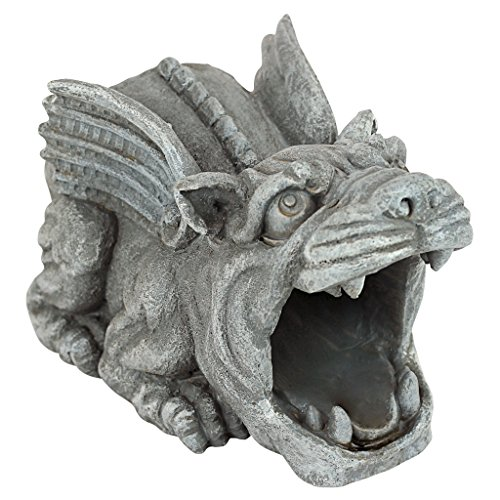 Design Toscano Roland the Gargoyle Gutter Guardian Rain Downspout Extension Statue, 10 Inch, Polyresin, Full -