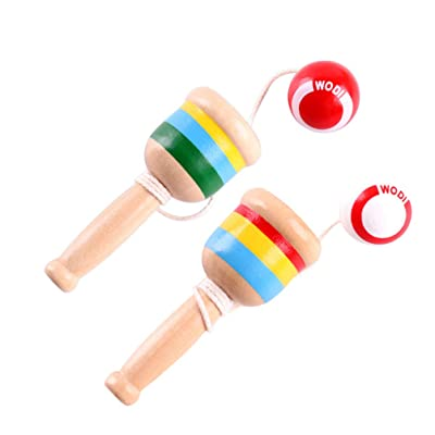 Toyvian 2 Pcs Cup Balls Toys Funny Skill Toy Coordination Game Toys Wooden Ball Toys for Children: Toys & Games