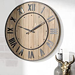 Oversized Large Round Wooden Wall Clock 24 Roman Numerals Rustic Home Decoration