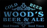 qs1078-b Wood's Beer & Ale Vintage Design Bar Decor Neon Light Sign