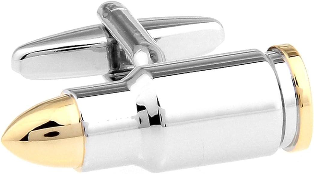 MRCUFF Bullet 2 Two Tone Shell Casing Police Pair Cufflinks in a Presentation Gift Box & Polishing Cloth