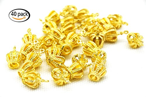 Youkwer 40Pcs 20mm x13mmx11mm Crown Shape Jewelry Making Findings Accessories Charms Pendants for DIY Crafting ,Bracelet and Necklace Making (Bright Gold) ()