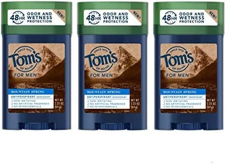 Tom's of Maine Men's Antiperspirant, Antiperspirant for Men, Mens Deodorant Antiperspirant, Mountain Spring, 2.8 Ounce, 3-Pack