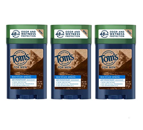 Tom's of Maine Antiperspirant for Men, Mountain Spring, 48-Hour Natural Deodorant and Natural Antiperspirant Protection, 2.25 Ounce, Pack of 3