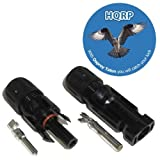 HQRP Pair MC4 Solar Panel Cable Wire Connectors male / female (M&F)