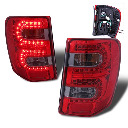 SPPC Red/Smoke LED Tail Lights Assembly Set for Jeep Grand Cherokee - (Pair) Includes Driver Left and Passenger Right Side Replacement ()