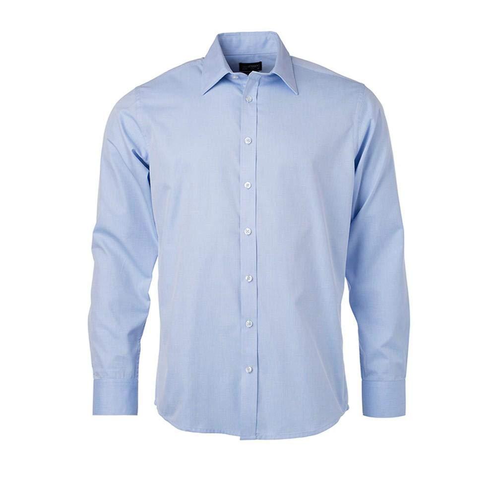James and Nicholson Mens Longsleeve Heringbone Shirt