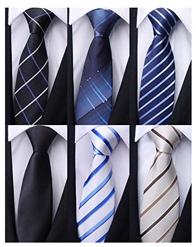 Weishang Pack of 6 Men's Classic Tie Silk Necktie Woven Jacquard Neck Ties (Set 9) by WeiShang