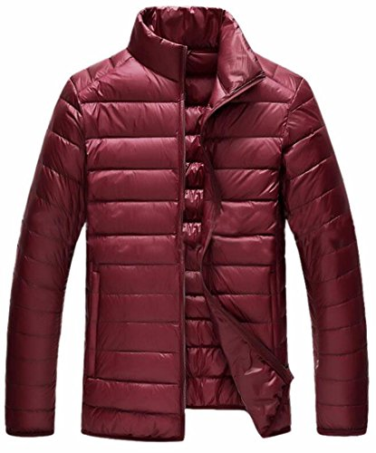 Year Collar Fly Men Puffer Red uk Classic Jackets Down Wine Padded Stand Pocket wXadqaR