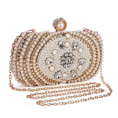 Clocolor Evening Bags and Clutches for Women Crystal Rhinestone for Wedding Party Beaded Clutch Purse Pearl Handbag(white)