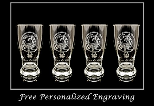 Beer Scottish (Clan Graham Scottish Crest Pint Glass Set of 4 - Free Personalized Engraving, Family Crest, Pub Glass, Beer Glass, Custom Beer Glass)
