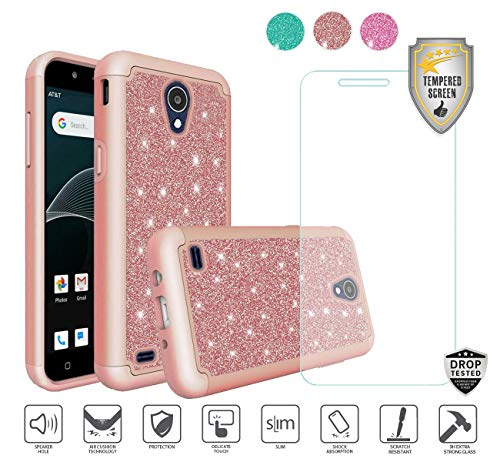 - Compatible for At&t Axia QS5509a Case, Cricket Vision Case, with Tempered Glass Screen Protector, Glitter Bling Diamond Design Hybrid [Shockfpoof] Tough Cover Case for Women Girl Design (Rose Gold)