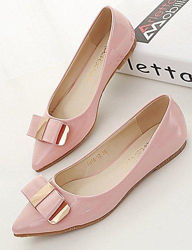 negro mujer plano us6 plataforma pink talón PDX sintética uk4 cn36 eu36 de piel Punta de rosa Toe zapatos Flats Casual a8xwq0tO