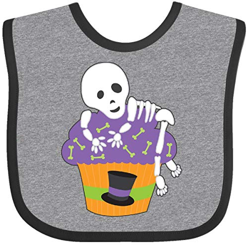 Inktastic - Cupcake With Skeleton Baby Bib Heather and Black 27148