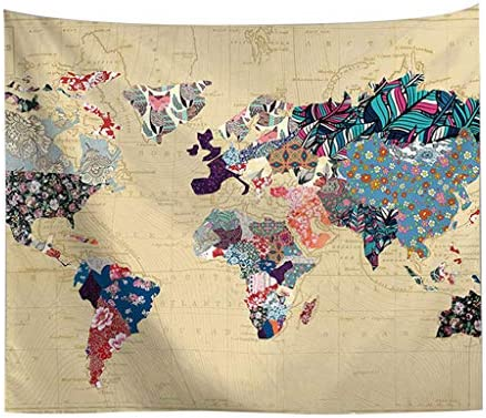 Redvive TopVintage World Map Tapices de Pared Colgando ...
