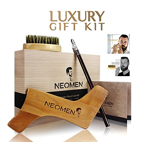 NEOMEN Wooden Beard Grooming Kit, Beard Shaping Template Designed for Various Beard Styles, With Boar Bristle Beard Brush & Barber Pencil, Helps to Achieve Perfect Goatee, Mustache & Neck Line