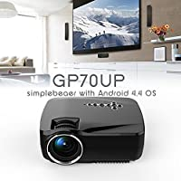 OSHIDE Android 4.4.2 Smart WiFi Projector, GP70UP Wireless Bluetooth LED Video Projector Support HDMI VGA USB TV Box etc. Multimedia Player for Entertainment