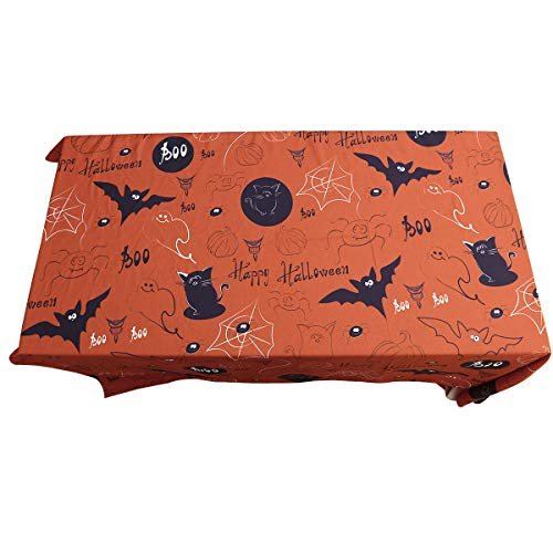 FUNZZY Halloween Table Runner Halloween Cartoon Bat Cat Tablecloth Waterproof Table Cover for Festival Decorations Dinner Supply]()