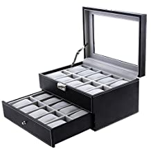 SONGMICS 20 Mens Watch Box Black Leather Display Glass Top Jewelry Case Organizer Lockable UJWB006
