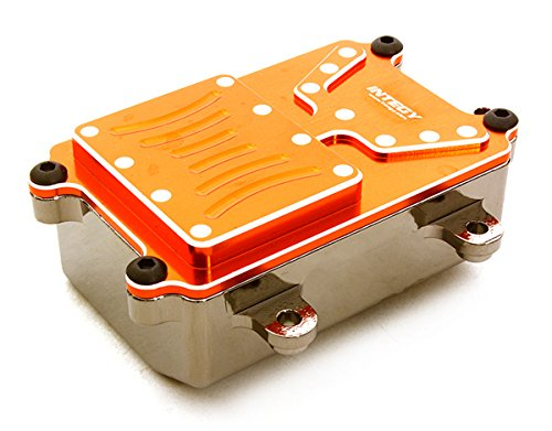 Integy RC Model Hop-ups C26603ORANGE Realistic Metal Receiver Box for Axial 1/10 SCX-10 Scale Crawler (Metal Gearbox Receiver)