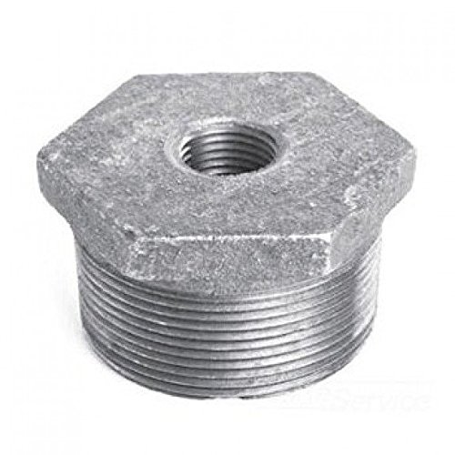 1 inch x 3/4 inch Malleable Iron Hexagon Bushing - Galvanized- Pack of 5