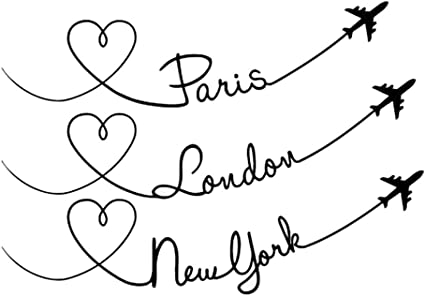 DNVEN Quotes 23 inches x 16 inches Paris London New York City Flight Planes Graphic Words Wall Door Stickers Removable Vinyl Arts for Childrens Day Bedrooms Family Playroom Classroom Nursery
