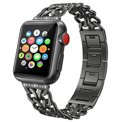 NO1seller Top Band Compatible for Apple Watch Series 4 40mm 44mm / Series 3 2 1 38mm 42mm for Women Men,Stainless Steel Cowboy Band for Iwatch Wristband Bracelet Replacement Strap ()