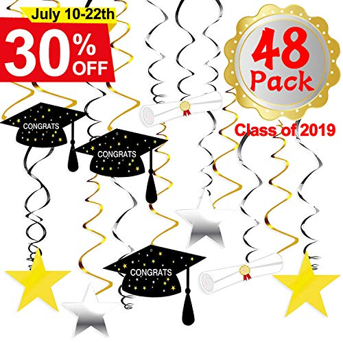 Decorations Hanging Swirls Black and Gold 2019 Graduation Party Supplies Hanging Decorations Hanging Swirls Kit -Grad Star/Mortarboards/Diplomas Ceiling Foil Ornaments Beautiful Hanging Ceiling for College Grad High School Party Decor 48PCS