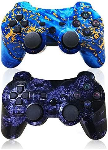 CHENGDAO PS3 Controller Wireless 2 Pack Dual Shock Upgraded Gamepad for Sony Playstation 3 with Charging Cord (PS3 Controller 2Pack,Blue + Violet)