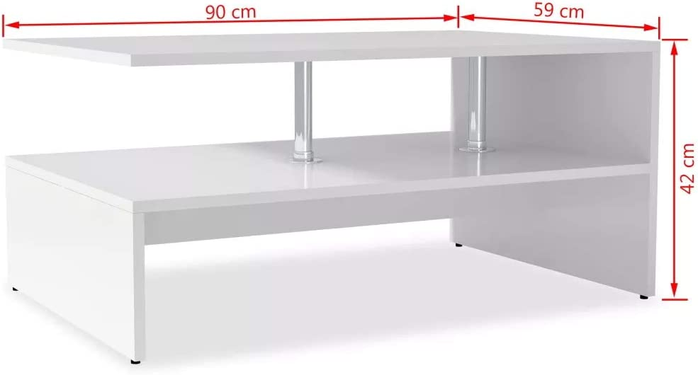 Facile da Montare SOULONG Tavolino da caff/è Design Moderno Tavolino Basso da Salotto Tavolino per caff/è avolo da caff/è Tavolino da Salotto con Ripiano 90x59x42 cm Bianco