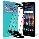 [3-Pack] TAURI Screen Protector for LG Stylo 3, [Full Cover] Tempered Glass Screen Protector with Lifetime Replacement Warranty - Black