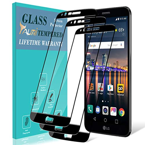([3-Pack] TAURI Screen Protector for LG Stylo 3, [Full Cover] Tempered Glass Screen Protector with Lifetime Replacement Warranty - Black )