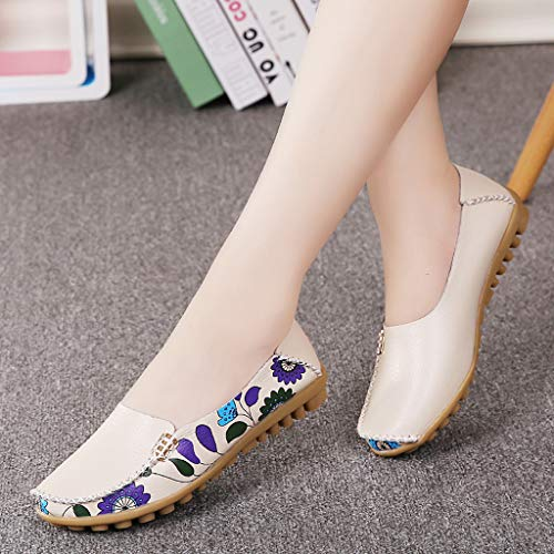Shusuen Fashion Women's Slip On Flats Shoes Comfort Walking Classic Round Toe Shoes Pumps Loafers Beige by Shusuen_shoes (Image #2)