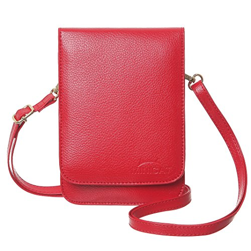 MINICAT Touch Screen Design Leather Mini Crossbody Cell Phone Wallet Purse Bag With Make Up Mirror(Red-Mirror)