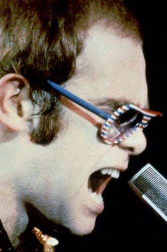 Elton John Funky Sunglasses Profile In Concert Early 1970's 24x36 - 1970 Sunglasses