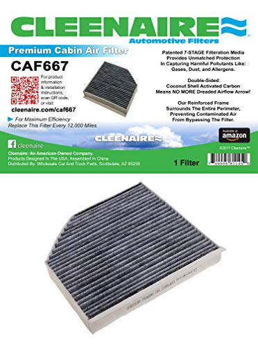 Cleenaire CAF667 The Most Advanced Protection Against Bacteria Dust Viruses Allergens Gases Odors, Cabin Air Filter For Audi