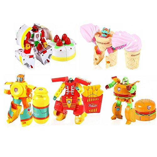 Skipvision Pretend Play Food Set Kids, Deformable Fake Mcdonalds & KFC Famous Food Model - Hamburger, French Fries, Ice-Cream Cone, Cake, Juice