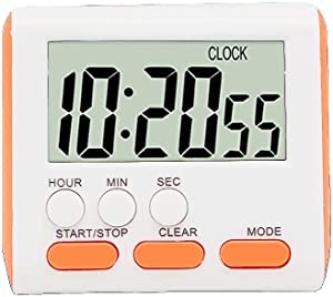 24 Hours Magnetic Kitchen Timers with Digital Alarm Clock Timer, Big Screen Loud Alarm & Strong Magnet, Count-Up & Count Down for Kitchen Baking Sports Games Office Study (Orange)