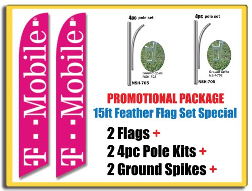 2-sets-of-15ft-tmobile-t-mobile-swooper-feather-banner-flags-includes-15ft-4pc-pole-kits-w-ground-sp